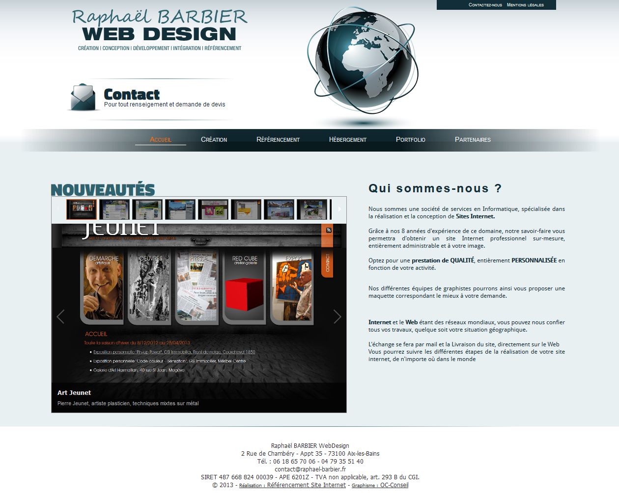 Conceptions et Créations de sites Internet - Raphaël BARBIER WebDesign